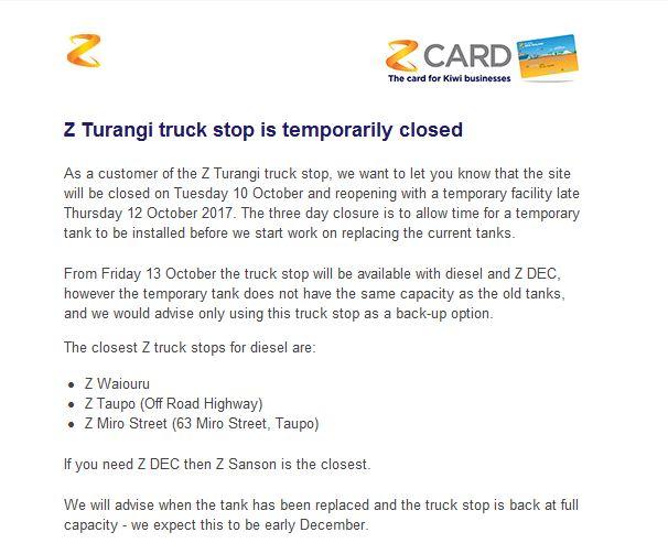 Z truck stop Turangi